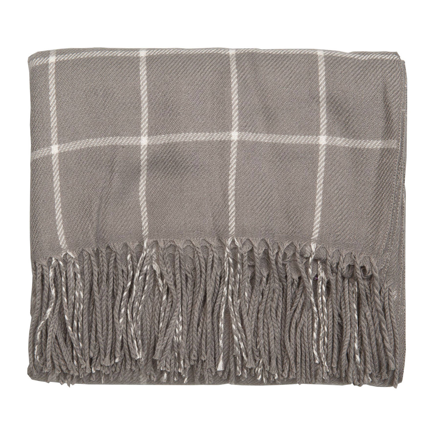 Clayre & eef plaid 130x150 cm - grijs, wit - polyester, 100% acryl