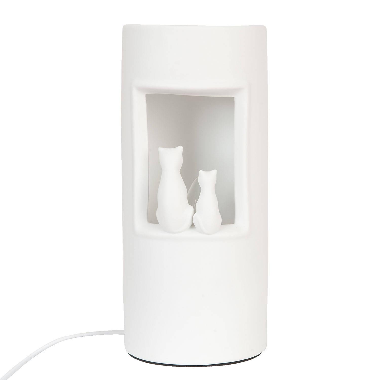 Clayre & eef tafellamp ø 12x28 cm / e14/max 1x30w - wit - keramiek