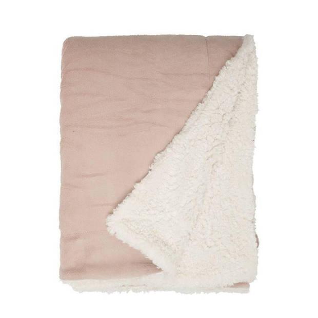 Unique Living Lars fleece plaid - 100% polyester - 150x200 cm - Oud Roze