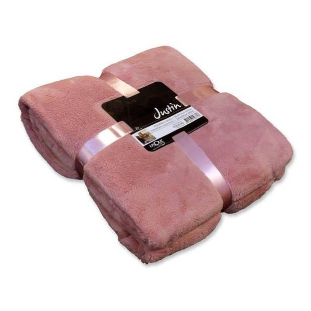 Unique Living Justin fleece plaid - Fleece polyester - 150x200 cm - Oud Roze