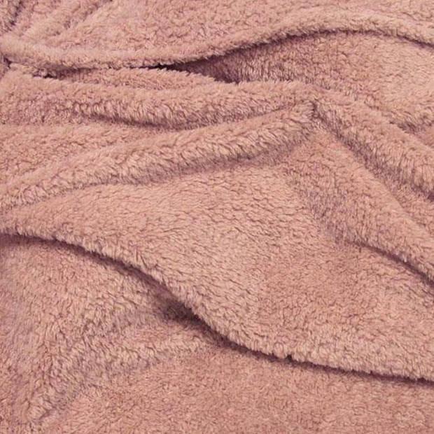 Unique Living Teddy fleece plaid - Fleece polyester - 150x200 cm - Oud Roze