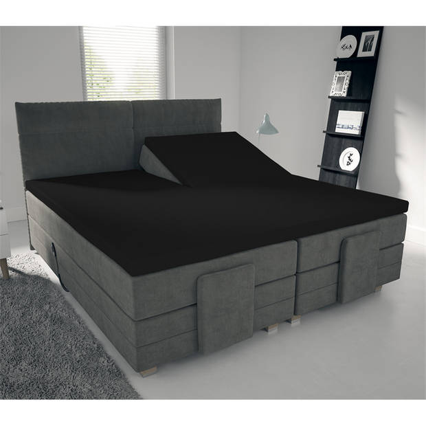 Nightlife Jersey Splittopper Hoeslaken Zwart-160 x 200 cm