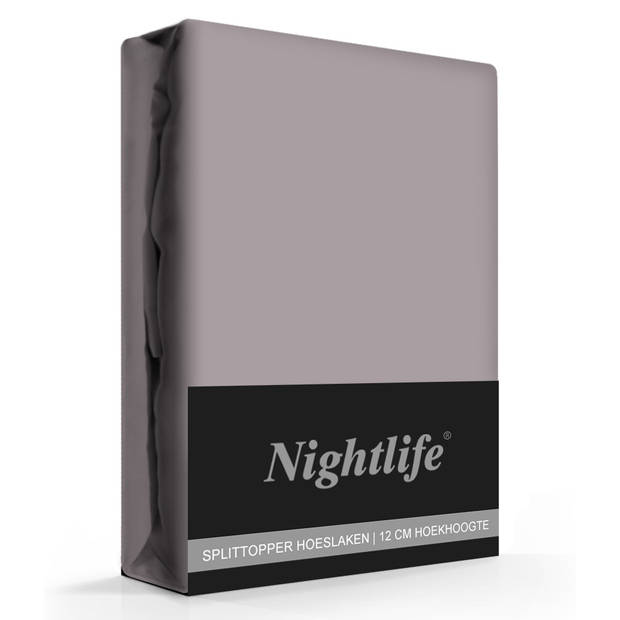Nightlife Jersey Splittopper Hoeslaken Taupe-160 x 200 cm