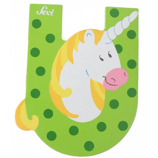 Sevi Letter U eenhoorn groen 10 cm