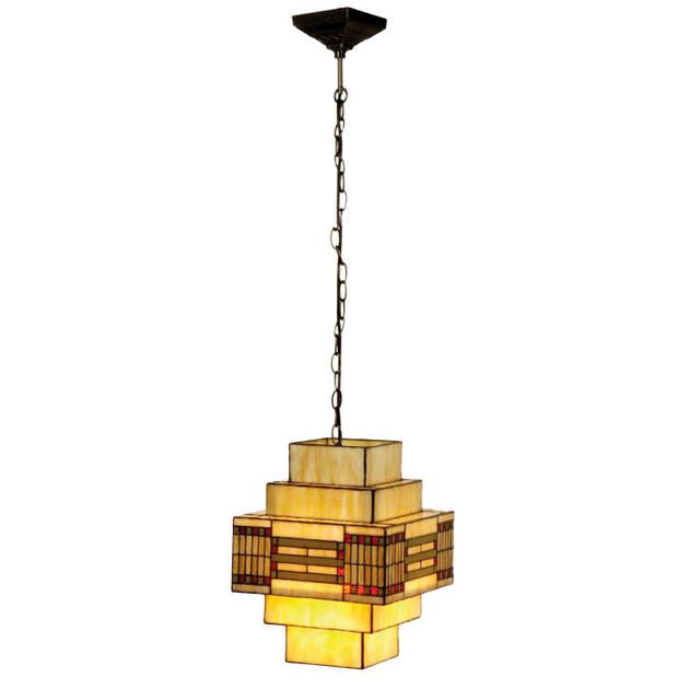 Clayre & eef tiffany hanglamp geblokt - groen, rood, geel - glas, metaal