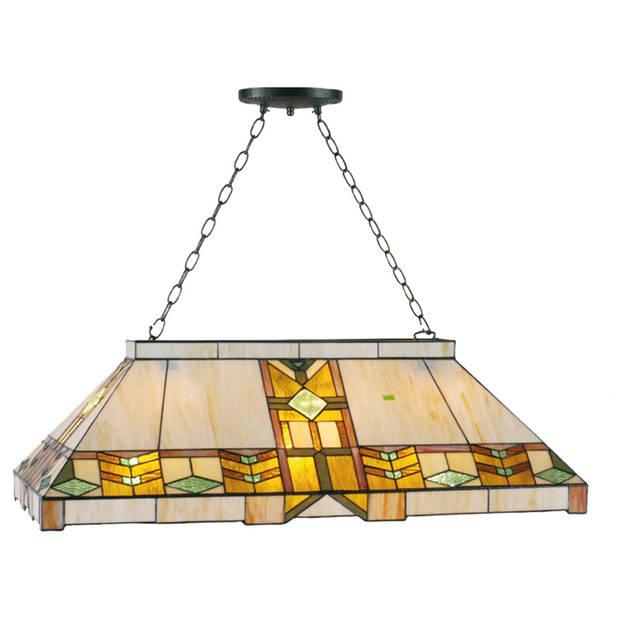 Clayre & eef tiffany eettafel pooltafel lamp mohawk serie - oranje, groen, beige, geel - glas, metaal