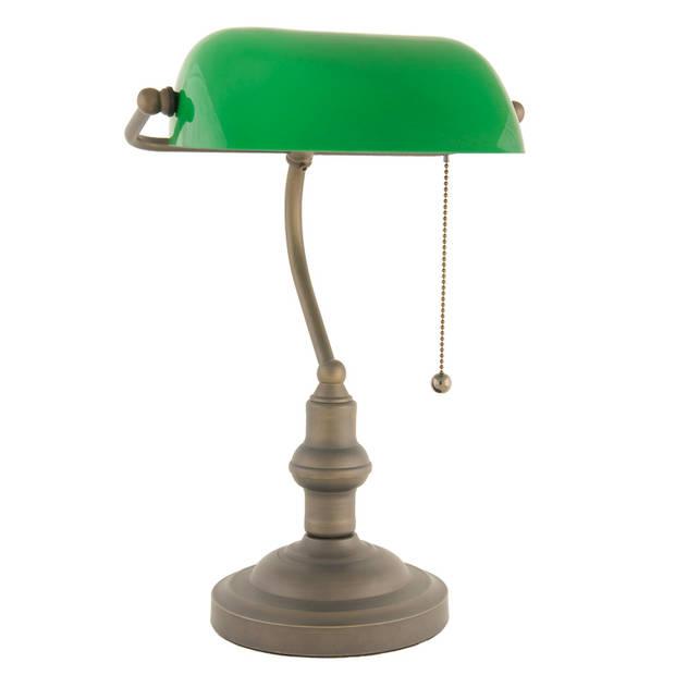 Clayre & eef bankierslamp bruin , groen glas 40 x ø 27 cm - bruin, groen - glas, metaal