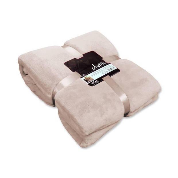 Unique Living Justin fleece plaid - Fleece polyester - 150x200 cm - Pebble