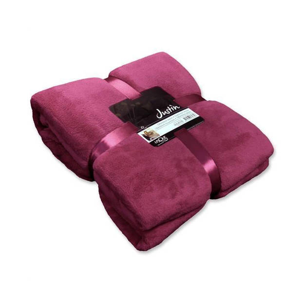 Unique Living Justin fleece plaid - Fleece polyester - 150x200 cm - Mesa Rosa