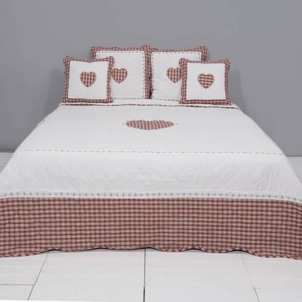 Clayre & eef bedsprei 230x260 - wit, rood - katoen, polyester, 100% katoen, vulling 100% polyester