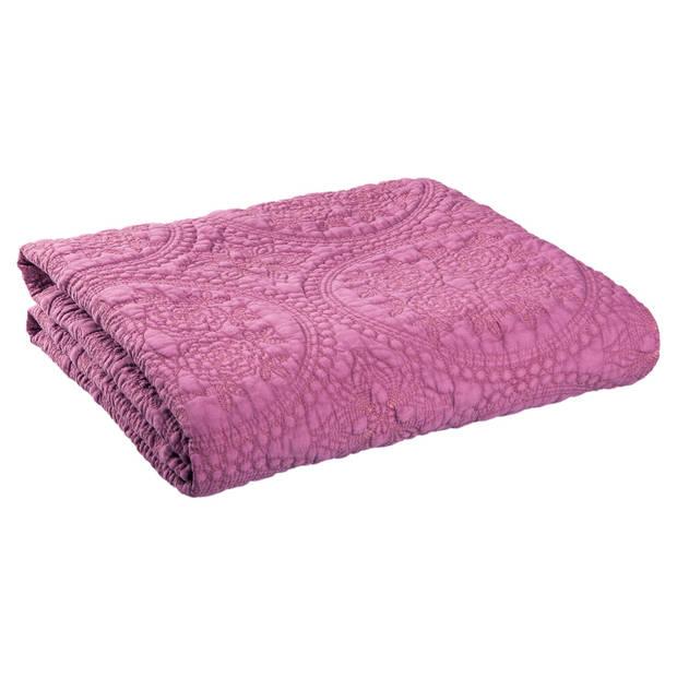 Clayre & eef bedsprei 230x260 - roze - katoen, polyester, 100% katoen, vulling 100% polyester