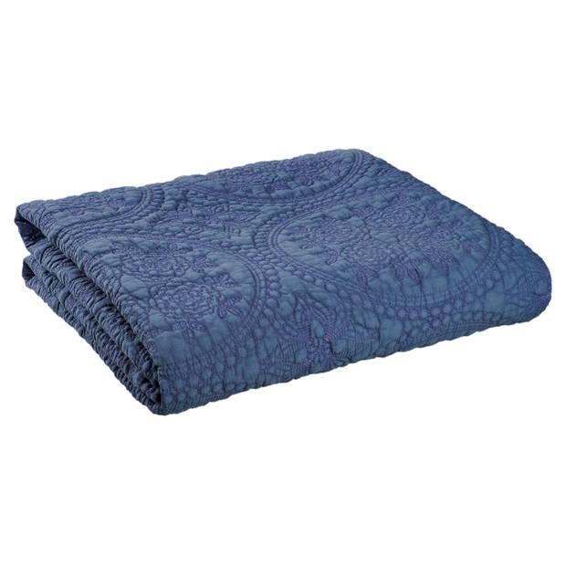 Clayre & eef bedsprei 230x260 - blauw - katoen, polyester, 100% katoen, vulling 100% polyester