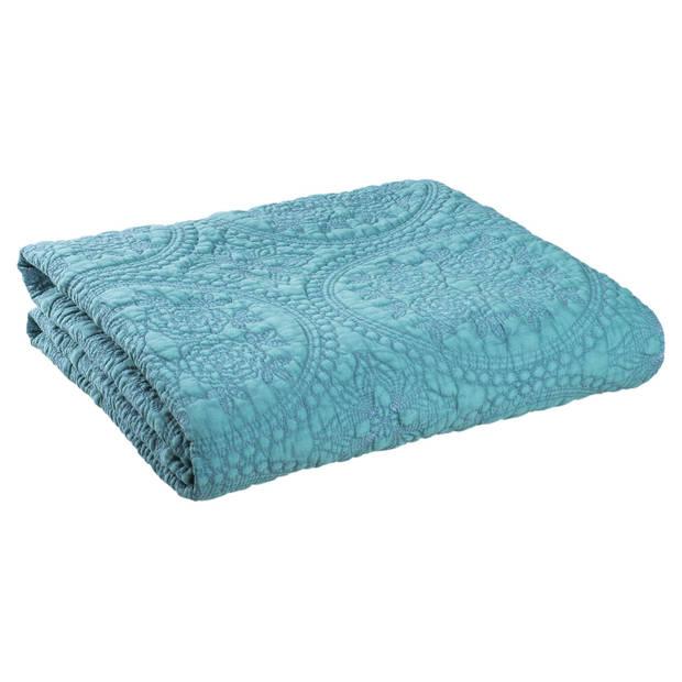 Clayre & eef bedsprei 180x260 - groen, turqoise - katoen, polyester, 100% katoen, vulling 100% polyester