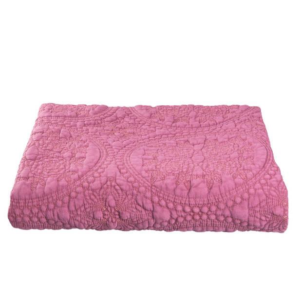 Clayre & eef bedsprei 180x260 - roze - katoen, polyester, 100% katoen, vulling 100% polyester