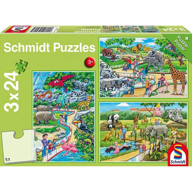 Een dagje dierentuin legpuzzel - 3 x 24 stuks