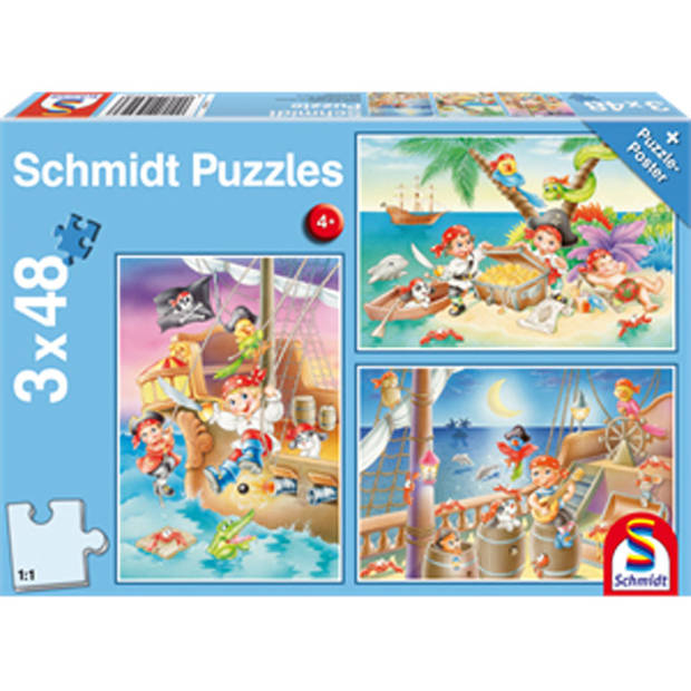 Piratenbende legpuzzel - 3 x 48 stuks