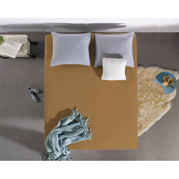 Home care jersey topper hoeslaken taupe - 2-persoons (200 cm) - taupe
