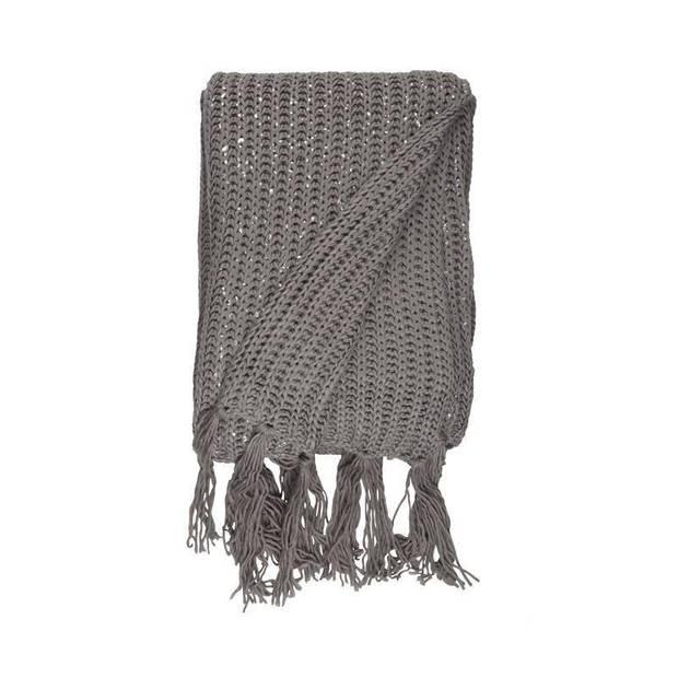 Unique Living Mees plaid - 100% polyester - 130x160 cm - Grey