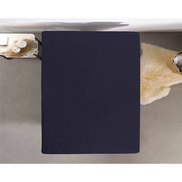 Home care hoeslaken dubbel jersey 220 gr. Navy - 2-persoons (200 cm) - blauw