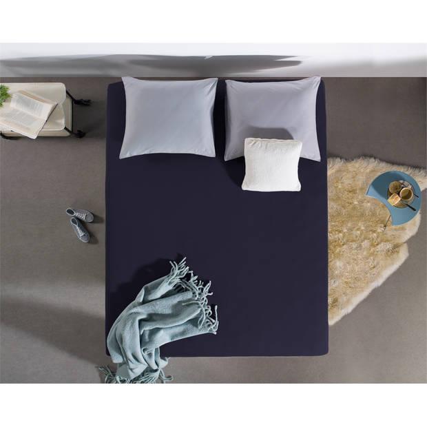 Home care hoeslaken dubbel jersey 220 gr. Navy - 2-persoons (180 cm) - blauw
