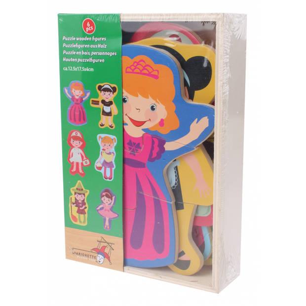 Marionette houten vormenpuzzel figuren 6 stuks