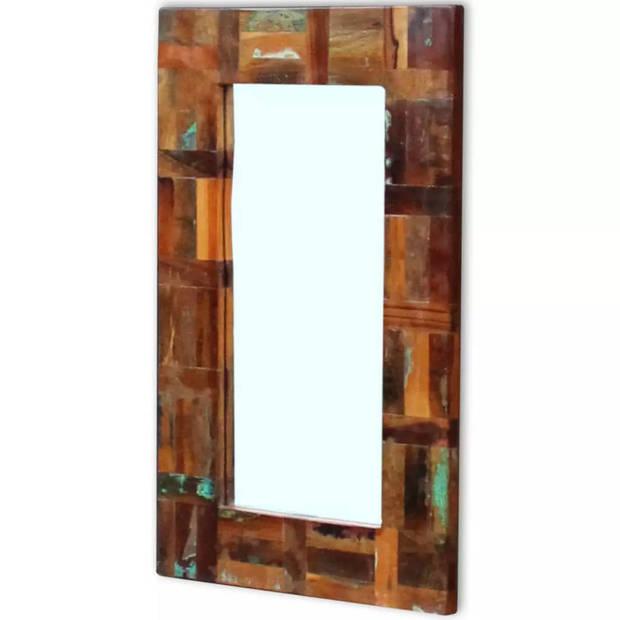 vidaXL Spiegel massief gerecycled hout 80x50cm