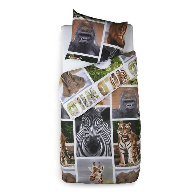Snoozing Wildlife dekbedovertrek - 100% katoen - 1-persoons (140x200/220 cm + 1 sloop) - 1 stuk (60x70 cm) - Multi