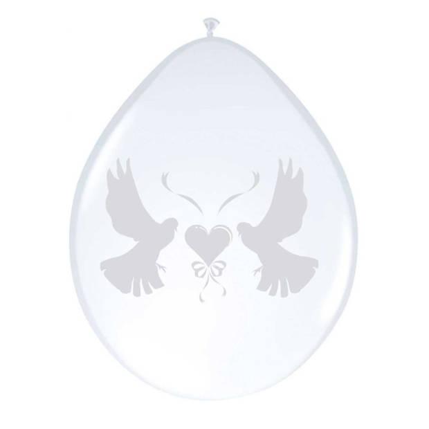 8x stuks ballonnen wit met duifjes 27 cm - Bruiloft feestartikelen/versiering