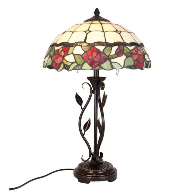 Clayre & eef tafellamp tiffany compleet ø 35x61 cm 2x e27/60w - bruin, groen, rood, ivory - ijzer, glas