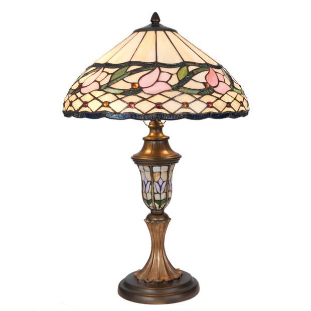 Clayre & eef tafellamp tiffany compleet ø 40x60 cm 2x e27 / max 60w - groen, roze, brons, multi colour - ijzer, glas