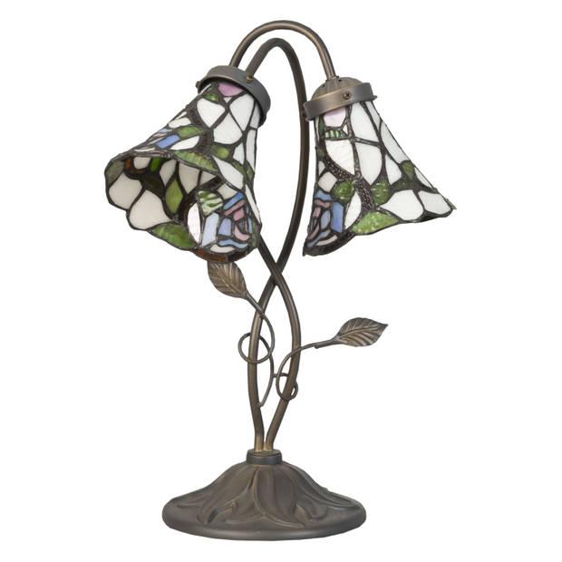 Clayre & eef tafellamp tiffany compleet 34x28x47 cm 2x e14 max 40w - bruin, groen, multi colour - ijzer, glas