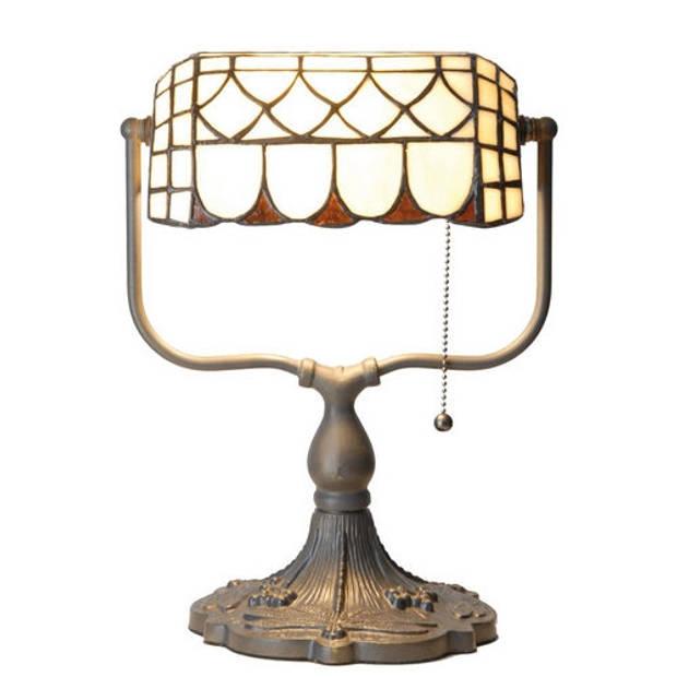 Clayre & eef tiffany tafellamp bankierslamp met trekschakelaar - oranje, brons, ivory - ijzer, glas