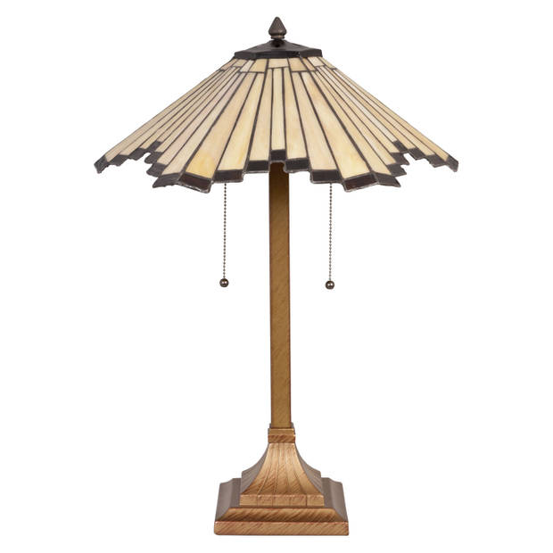 Clayre & eef tafellamp tiffany compleet ø 45x64 cm 2xe27 max. 60w. - bruin, zwart, ivory - ijzer, glas