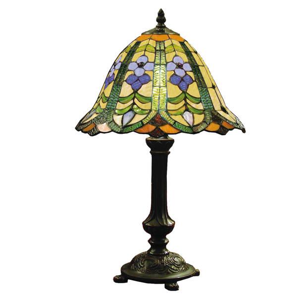 Clayre & eef tafellamp met tiffanykap compleet 48 x ø 30 cm - bruin, groen, blauw, multi colour - ijzer, glas