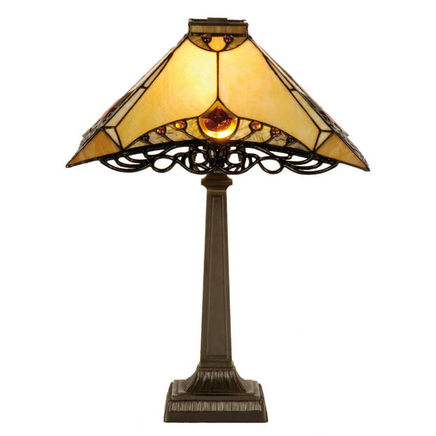 Clayre & eef tafellamp tiffany compleet 49 x ø 50 cm max 40w - bruin, ivory - ijzer, glas
