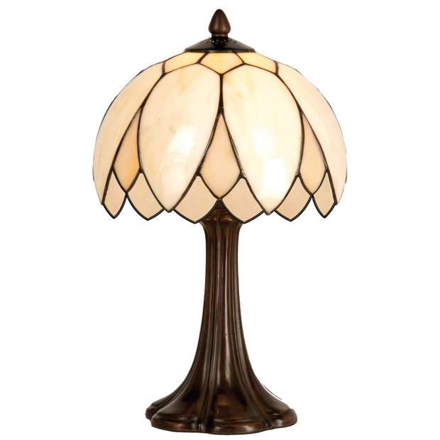 Clayre & eef tiffany tafellampje uit de lily serie - bruin, roze - ijzer, glas
