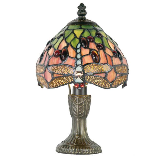 Clayre & eef tiffany tafellampje dragonfly blue serie - bruin, groen, roze, multi colour - ijzer, glas