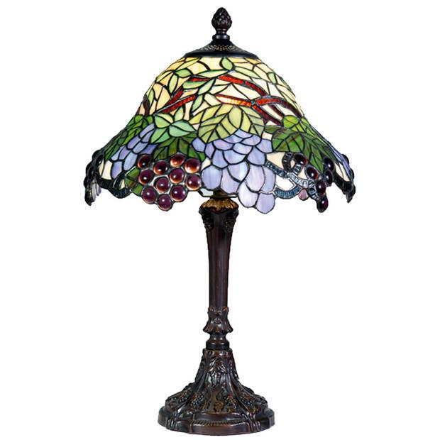 Clayre & eef tafellamp zink met tiffanykap druif compleet 48 x ø 30 cm - bruin, blauw, multi colour - ijzer, glas
