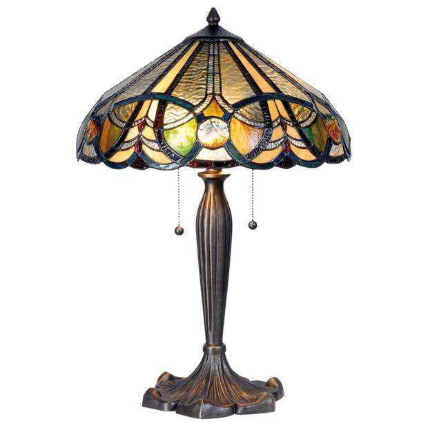 Clayre & eef tafellamp met tiffanykap ø 41x61 cm 2x e27 max 60w. - bruin, multi colour - ijzer, glas