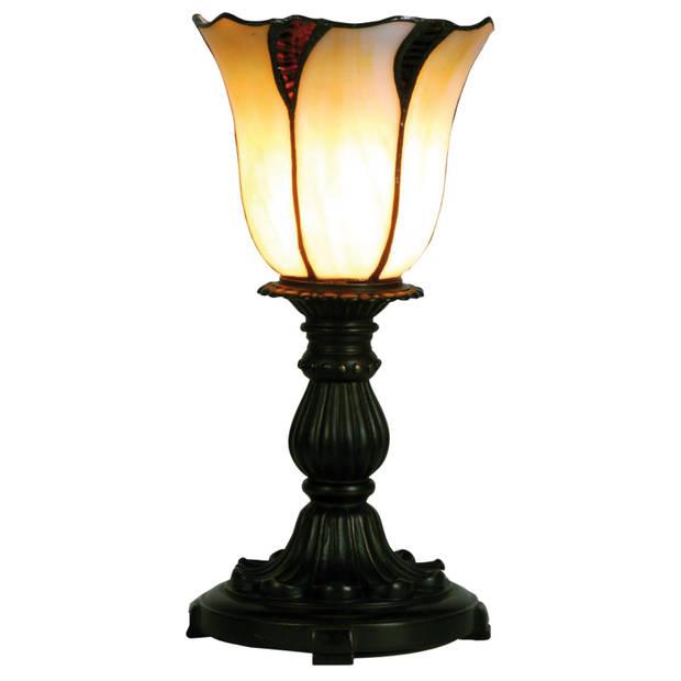 Clayre & eef tafellampje met gebogen tiffany kapje 32 x ø 16 cm - bruin, wit, zwart - ijzer, glas
