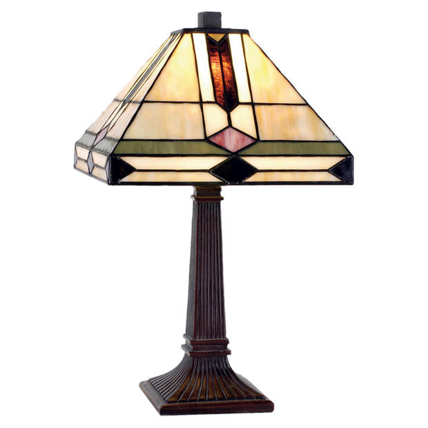 Clayre & eef tafellamp tiffany compleet 37 x ø 22 cm - bruin, ivory, multi colour - ijzer, glas