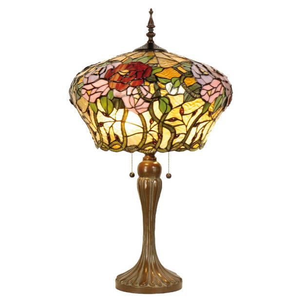 Clayre & eef tafellamp tiffany compleet 72 x ø 40 cm - bruin, groen, roze, multi colour - ijzer, glas