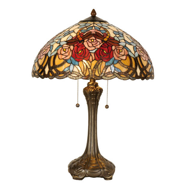 Clayre & eef tafellamp tiffany compleet ø 46x64 cm 2x e27 max 60w. - bruin, rood, geel, multi colour - ijzer, glas