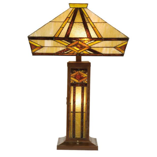 Clayre & eef tiffany tafellamp uit de flintwood serie - bruin, geel, ivory - ijzer, glas