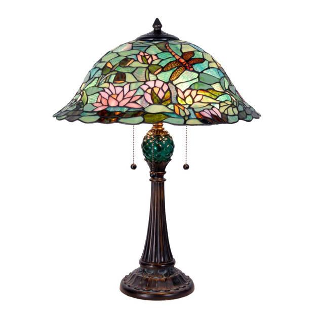 Clayre & eef tafellamp met tiffanykap waterlelie ø 47x60 cm - bruin, groen, roze, multi colour - ijzer, glas