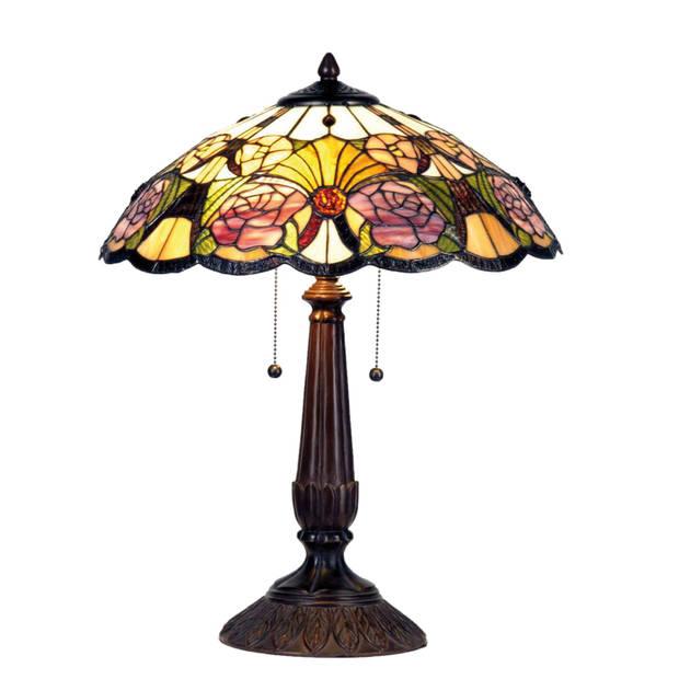 Clayre & eef tafellamp tiffany compleet ø 44x57 cm 2x e27 max 60w. - bruin, paars, multi colour - ijzer, glas