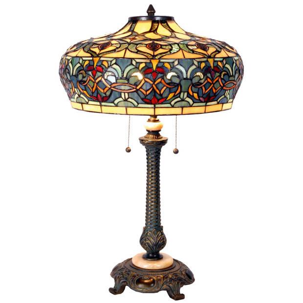 Clayre & eef tafellamp met tiffanykap ø 47x71 cm 2x e27 max 60w - bruin, blauw, ivory, multi colour - ijzer, glas