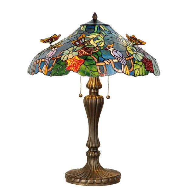 Clayre & eef tafellamp tiffany met vlinders 65cm x ø 52cm - bruin, blauw, multi colour - ijzer, glas