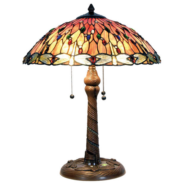 Clayre & eef tiffany tafellamp uit de dragonfly fire serie - bruin, rood, multi colour, groen, blauw - ijzer, glas