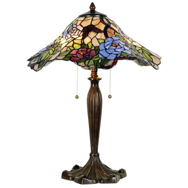 Clayre & eef tafellamp tiffany compleet ø 46x60 cm 2x e27 max 60w - bruin, groen, blauw, multi colour - ijzer, glas